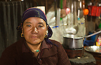 Nepal Himalayas Sherpa woman posing in tea house in the village of Tok Tok Solukhumbu remote Mt Everest    61