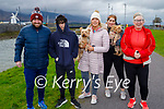 Cola and Marley the dogs being taken for a walk by Declan O'Brien, Jordan and Nicole O'Sullivan, Alva Hussey and Martina Hussey O'Brien in Blennerville on Sunday.