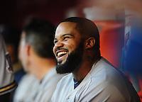 May 7, 2010; Phoenix, AZ, USA; Milwaukee Brewers first baseman Prince Fielder against the Arizona Diamondbacks at Chase Field. The Brewers defeated the Diamondbacks 3-2. Mandatory Credit: Mark J. Rebilas-