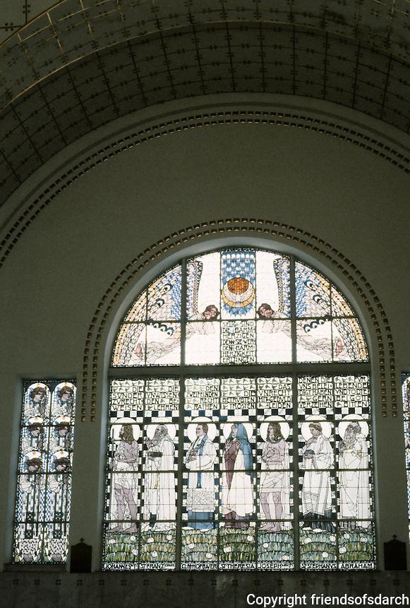 Otto Wagner: Church AM Steinhof, Vienna. South side--window by Kolo Moser.