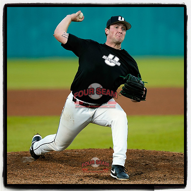 Austin Morgan (10) of the University of South Carolina Upstate Spartans Black team was the starting pitcher in the Green and Black Fall World Series Game 4 on Wednesday, November 4, 2020, at Cleveland S. Harley Park in Spartanburg, South Carolina. Green won, 8-0. (Tom Priddy/Four Seam Images)