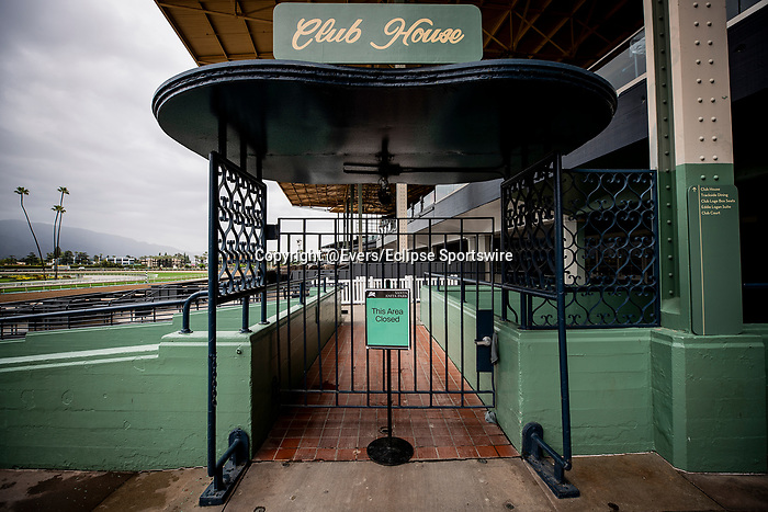 MAR 14: Horse racing continues at Santa Anita Park despite being closed to the public for safety concerns over the coronavirus in Arcadia, California on March 14, 2020. Evers/Eclipse Sportswire/CSM