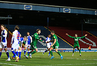 12th February 2021; Ewood Park, Blackburn, Lancashire, England; English Football League Championship Football, Blackburn Rovers versus Preston North End; Liam Lindsey of Preston North End celebrates after beating Blackburn Rovers goalkeeper Thomas Kaminski with a close range header to give his side a 0-2 lead after 42 minutes