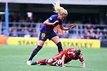 UEFA Women's Champions League 2018/2019.<br /> Semi Finals<br /> FC Barcelona vs FC Bayern Munchen: 1-0.<br /> Gina Lewandoswki vs Kheira Hamraoui..