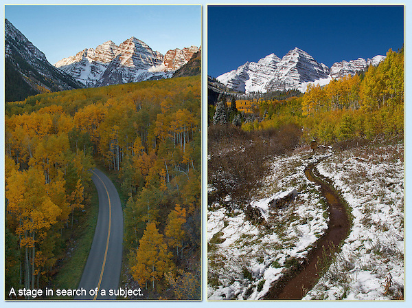 The top half of each image could be photographed by just about any visitor. <br /> Write down 'trail' or 'road' or 'lines' on a shot list and you'll be more creative. Year round tours in Boulder Colorado.