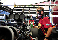 Sept. 23, 2011; Ennis, TX, USA: NHRA crew chief Brian Husen for top fuel dragster driver Del Worsham during qualifying for the Fall Nationals at the Texas Motorplex. Mandatory Credit: Mark J. Rebilas-
