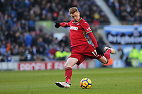 Sam Clucas of Swansea City takes a shot off target during the Premier League match between Brighton and Hove Albion and Swansea City and at the Amex Stadium, Brighton, England, UK. Saturday 24 February 2018