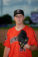Aberdeen Ironbirds pitcher Dan Hammer (21) poses for a photo before a NY-Penn League game against the Staten Island Yankees on August 22, 2019 at Richmond County Bank Ballpark in Staten Island, New York.  Aberdeen defeated Staten Island 4-1 in a rain shortened game.  (Mike Janes/Four Seam Images)