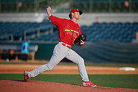 Palm Beach Cardinals starting pitcher Casey Meisner (33) delivers a pitch during a game against the Florida Fire Frogs on May 1, 2018 at Osceola County Stadium in Kissimmee, Florida.  Florida defeated Palm Beach 3-2.  (Mike Janes/Four Seam Images)