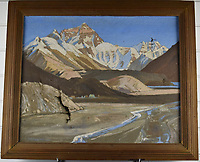 BNPS.co.uk (01202 558833)<br /> Pic: StroudAuctions/BNPS<br /> <br /> Pictured: An oil on canvas 19ins by 23ins painting of Everest base camp in 1922 sold for £7,500, almost 40 times its £200 estimate.<br /> <br /> Fascinating art work by a British mountaineer who twice climbed Mount Everest have sold at auction a century later for over £30,000.<br /> <br /> Theodore Howard Somervell took part in pioneering expeditions to the Himalayas in 1922 and 1924.<br /> <br /> He got to within 1,000ft of the summit, the highest point reached at that time, despite not using an oxygen tank.<br /> <br /> The skilled artist produced dozens of watercolours and sketches of the scenes he witnessed, including glacial peaks and camp life.<br /> <br /> His works sparked a bidding war when they were sold by a direct descendant with Stroud Auctions, of Gloucs.  An oil on canvas painting of Everest base camp in 1922 sold for £7,500, almost 40 times its estimate.