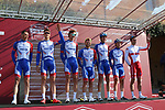 Groupama-FDJ at sign on before the start of Strade Bianche 2019 running 184km from Siena to Siena, held over the white gravel roads of Tuscany, Italy. 9th March 2019.<br /> Picture: Seamus Yore   Cyclefile<br /> <br /> <br /> All photos usage must carry mandatory copyright credit (© Cyclefile   Seamus Yore)