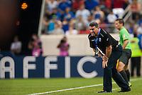 Honduras head coach Luis Fernando Suarez. Honduras defeated Haiti 2-0 during a CONCACAF Gold Cup group B match at Red Bull Arena in Harrison, NJ, on July 8, 2013.