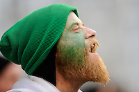 An Irish fan cheers his team during the RBS 6 Nations match between Ireland and England at the Aviva Stadium, Dublin on Sunday 10 February 2013 (Photo by Rob Munro)