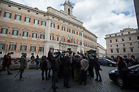 Rome, Italy. 09th Feb, 2021. Today, the designated Italian Prime Minister - and former President of the European Central Bank -, Mario Draghi, held his last day of consultations at Palazzo Montecitorio, meeting delegations of the Italian political parties in his attempt to form the new Italian Government.