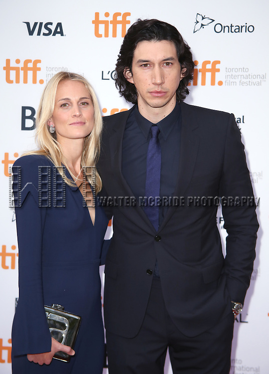Adam Driver and wife Joanne Tucker attending the 'While We're Young' red carpet arrivals during the 2014 Toronto International Film Festival at the Princess of Wales Theatre on September 6, 2014 in Toronto, Canada.