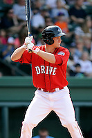 Left fielder Kevin Mager (24) of the Greenville Drive bats in a game against the Lexington Legends on Sunday, April 27, 2014, at Fluor Field at the West End in Greenville, South Carolina. Greenville won, 21-6. (Tom Priddy/Four Seam Images)