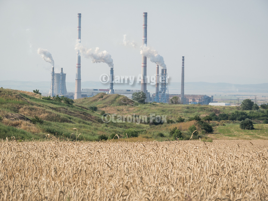 Wheat field, coal-fired power station, Kovacevo, Bulgaria