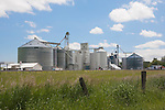 Grain elevators of the Uniontown Co-op Association, in Uniontown, WA, in the Palouse Hills.