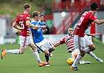 Hamilton Accies v St Johnstone…01.09.18…   New Douglas Park     SPFL<br />David Wotherspoon is tackled by Dougie Imrie<br />Picture by Graeme Hart. <br />Copyright Perthshire Picture Agency<br />Tel: 01738 623350  Mobile: 07990 594431
