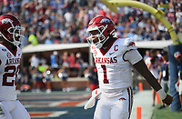 Arkansas quarterback KJ Jefferson (1) reacts after a score, Saturday, October 9, 2021 during the fourth quarter of a football game at Vaught Hemingway Stadium in Oxford, Miss. Check out nwaonline.com/211010Daily/ for today's photo gallery. <br /> (NWA Democrat-Gazette/Charlie Kaijo)