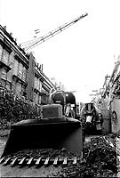 Construction work to extend Montreal Metro toward the East, March 1973 (exact date unknown)<br /> <br /> Photo : Agence Quebec Presse  -  Alain Renaud