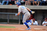 Burlington Royals center fielder Bubba Starling #23 runs to first during  a game against the Greenville Astros at Pioneer Park on August 17, 2012 in Greenville, Tennessee. The Astros defeated the Royals 5-1. (Tony Farlow/Four Seam Images).