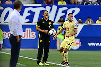 Harrison, NJ - Wednesday July 06, 2016: Ignacio Ambriz, Bruno Valdez during a friendly match between the New York Red Bulls and Club America at Red Bull Arena.