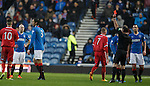 Bilel Mohsni is sent off for kicking the ball away as he gets a second booking from ref Stevie O'Reilly