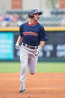 Justin Henry (7) of the Pawtucket Red Sox hustles towards third base against the Charlotte Knights at BB&T Ballpark on August 8, 2014 in Charlotte, North Carolina.  The Red Sox defeated the Knights  11-8.  (Brian Westerholt/Four Seam Images)