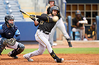 FCL Pirates Black Dustin Fowler (12), on rehab assignment, hits a foul ball during a game against the FCL Rays on August 3, 2021 at Charlotte Sports Park in Port Charlotte, Florida.  (Mike Janes/Four Seam Images)