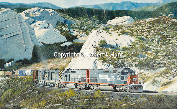 """Four Southern Pacific Railroad diesel locomotives climbing through Cajon Pass with a mixed freight train, approaching the head of Horsethief Canyon in the southern California mountains. Oil on canvas, 17"""" x 27""""."""