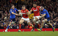 Gareth Davies of Wales (2nd L) gets past France players during the Wales v France, 2016 RBS 6 Nations Championship, at the Principality Stadium, Cardiff, Wales, UK