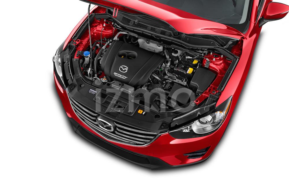 Car Stock2016 Mazda CX5 Premium Edition 5 Door SUV Engine high angle detail view