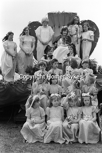 Ickwell May Queen  Bedfordshire Uk 1973.The May Queen is Miss Shirley Fraser.<br /> <br /> My ref 20/525/1973
