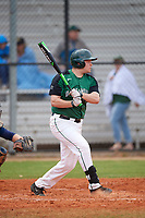 Dartmouth Big Green first baseman Michael Calamari (3) at bat during a game against the Southern Maine Huskies on March 23, 2017 at Lake Myrtle Park in Auburndale, Florida.  Dartmouth defeated Southern Maine 9-1.  (Mike Janes/Four Seam Images)