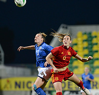 20180307 - LARNACA , CYPRUS : Italian Aurora Galli (left) pictured in a duel with Spanish Virginia Torrecilla Reyes (r) during a women's soccer game between Italy and Spain , on wednesday 7 March 2018 at the AEK Arena in Larnaca , Cyprus . This is the final game for the first place  for  Italy and  Spain on the Cyprus Womens Cup , a prestigious women soccer tournament as a preparation on the World Cup 2019 qualification duels. PHOTO SPORTPIX.BE | DAVID CATRY