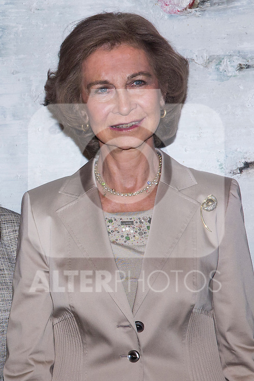 20.09.2012. Queen Sofia of Spain, accompanied by the mayor of Madrid Ana Botella,  the Minister of Health, Social Services and Equality Ana Mato and the Foundation ONCE president, Miguel Carballeda, attend the inauguration of the IV Biennial of Contemporary Art Foundation ONCE, in the Conde Duque Cultural Centre in Madrid. In the image Queen Sofia (Alterphotos/Marta Gonzalez)
