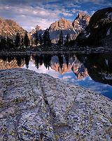 Sunset light on the Teton Range and Lake Solitude in Cascade Canyon; Grand Teton National Park, WY