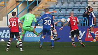 Gillingham goalkeeper, Jack Bonham nearly scores an equaliser for the Gills in stoppage time as his shot just misses the Exeter City goal during Gillingham vs Exeter City, Emirates FA Cup Football at the MEMS Priestfield Stadium on 28th November 2020