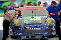 #63 (GTC) TRG Porsche GT3 Cup, Henri Richard, Duncan Ende & Andy Lally rolls through tech.