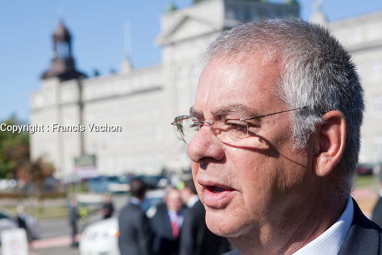 Jacques P. Dupuis arrives at the funeral of Claude Bechard at the Sainte-Anne Cathedral in La Pocatiere Saturday September 11, 2010. Jacques P. Dupuis is a member of the Quebec Liberal Party and former MNA for Saint-Laurent in the Montreal region, Dupuis is also a former Quebec Minister of Justice and was Minister of Public Security until 2010.<br /> <br /> PHOTO :  Francis Vachon - Agence Quebec Presse