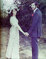Pictured: Copy picture of Lynne Lewis marrying Thomas John Lewis in 1976.<br /> Re: Lynne Lewis, 66, from Pentwyn, south Wales, whose late husband Thomas John Lewis worked for BT for 42 years and BT keep delaying his pension pay out after his death in early November 2018.
