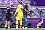 FC Barcelona's coach Quique Setien with Clement Lenglet during La Liga match. July 11,2020. (ALTERPHOTOS/Acero)