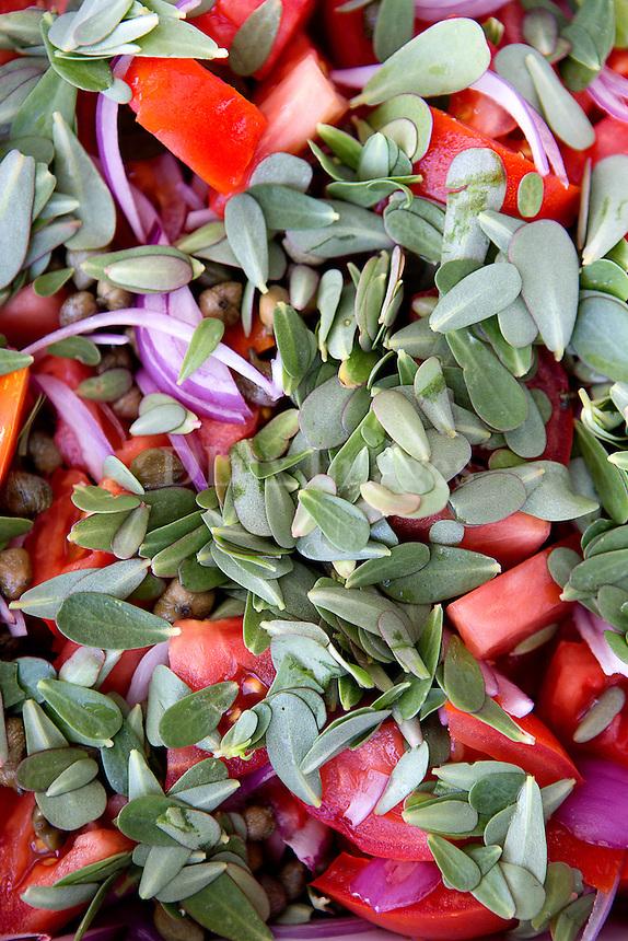 Traditional Greeck salad with purslane