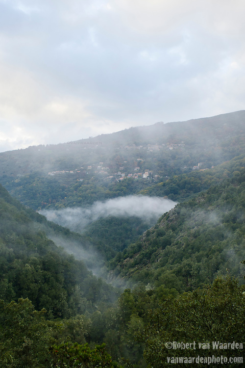A village nestled amongst the trees in the mountains of Corsica while the clouds rise from the valley.