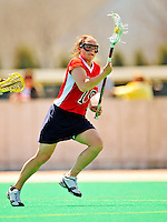 25 April 2009: Stony Brook University Seawolves' attackman Jenna Celano, a Senior from Farmingdale, NY, in action against the University of Vermont Catamounts at Moulton Winder Field in Burlington, Vermont. The Lady Cats defeated the visiting Seawolves 19-11 in Vermont's last home game of the 2009 season. Mandatory Photo Credit: Ed Wolfstein Photo
