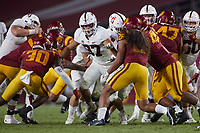 LOS ANGELES, CA - SEPTEMBER 11: Bradley Archer #87 of the Stanford Cardinal blocks on a running play during a game between University of Southern California and Stanford Football at Los Angeles Memorial Coliseum on September 11, 2021 in Los Angeles, California.