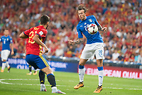 Spain's Marco Asensio and Italy's Federico Bernardeschi during match between Spain and Italy to clasification to World Cup 2018 at Santiago Bernabeu Stadium in Madrid, Spain September 02, 2017. (ALTERPHOTOS/Borja B.Hojas)