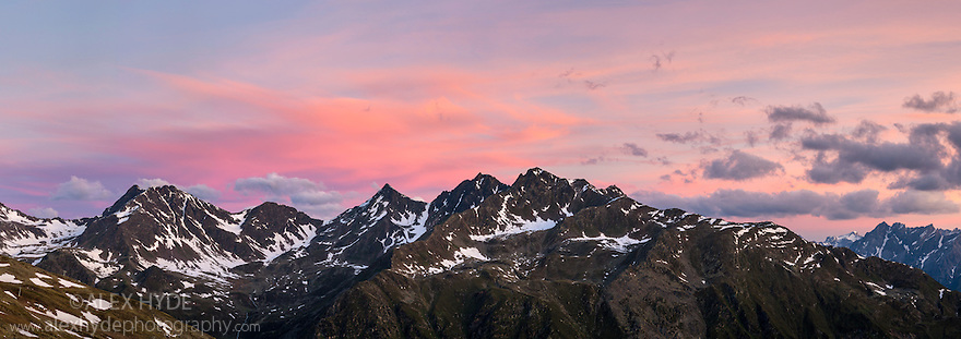 Mountain ridge at dawn, Nordtirol, Austrian Alps, June. Digitally stitched panoramic image.