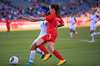 CARSON, CA - FEBRUARY 07: Mariana Benavides #4 of Costa Rica battles with Allysha Chapman #2 of Canada during a game between Canada and Costa Rica at Dignity Health Sports Park on February 07, 2020 in Carson, California.
